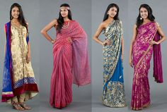 This visual is of traditional dresses called Saris. There are many kinds of traditional Indian dresses, but this is just one. They can be worn on a daily basis, but some people just wear them on special occasions, holidays, and festivals. Some women wear turban like head pieces with the dresses. They come in all different colors, fabrics, textures, patterns, and more! Depending on those, they go with the culture.