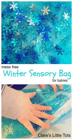 mess free winter sensory bag for babies. Safe sensory play idea for babies and toddlers.