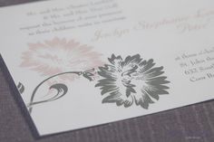 Invite used as inspiration for our Modern pink and grey floral cake  Photography by Revert Imaging
