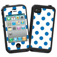 Blue Polka Dot on White Skin  for the LifeProof iPhone 4/4S Case by skinzy.com