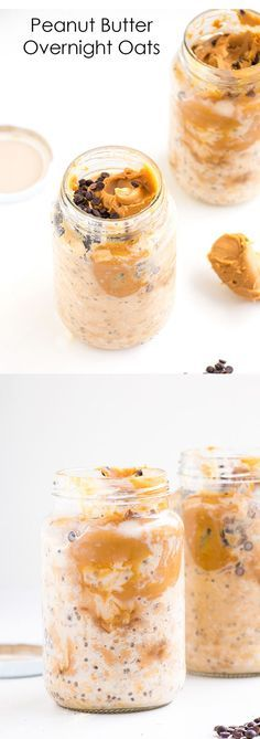 Peanut Butter Overnight Oats (oatmeal, peanut butter, chocolate chips, chia seeds, and almond milk) – a delicious quick and easy healthy breakfast.