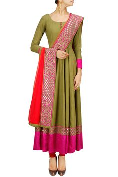 green and red gota embroidered anarkali churidar | Vasavi Shah | www.perniaspopupshop.com