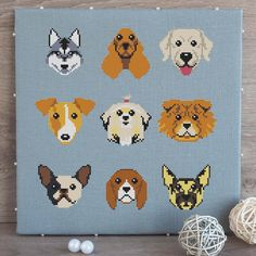 "9 dog breeds - cross stitch pattern pdf.  Labrador, Beagle, Chow Chow, Siberian Husky, Shih Tzu, German Shepherd, English Cocker, French Bulldog, Jack Russell.  The pattern will fit nicely in a 10""x10"" frame (or 25 cm x 25 cm) on 14 count fabric.  Buy this pattern in my store: https://www.etsy.com/listing/531199836"