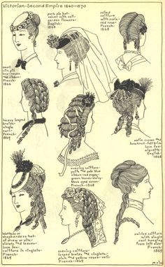 Love how they show not only the hair, but how the hats were worn! Very different from today, very forward and with a tilt! Beautiful