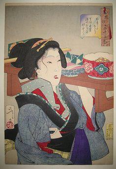 A woodblock print by Yoshitoshi, Heavy, The Appearance of a Fukagawa Waitress in the Tempo Era, at Scholten Japanese Art. Geisha, Japan Painting, Japanese Prints, Japanese Artwork, Japan Art, Japanese Culture, Print Artist, Woodblock Print, Large Art