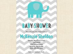Elephant Baby Shower Invitation Grey Chevron by BusyChickadees, $10.00
