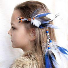 "Hair Extension Feather Hair Extension ""Walk across the Sky"" Blue Feather Hair Clip Tribal Feather Extension White Blue Feather Extension by Nastasy on Etsy"