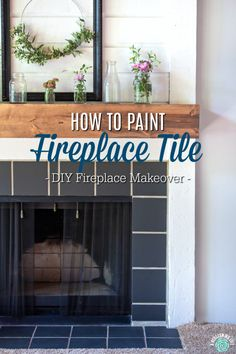 How To Paint Fireplace Tile - DIY Fireplace Makeover - Transform your fireplace on a tight budget with this easy step-by-step tutorial on how to paint your fireplace surround and tile. Plus, learn how to easily paint stained wood with low VOC products. Paint Fireplace Tile, Tile Around Fireplace, Marble Fireplace Surround, Wooden Fireplace, Fireplace Update, Victorian Fireplace, Marble Fireplaces, Fireplace Remodel, Fireplace Surrounds