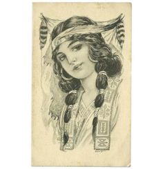 Vintage Postcard of Native American Indian Maiden 1913 Traditional Tattoo Girls, Traditional Tattoo Old School, American Indian Girl, Native American Girls, Bert Grimm, Americana Tattoo, Mujeres Tattoo, Blackwork, Pinup