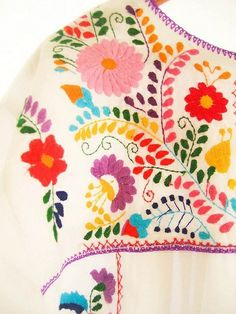 Audrey 10/17: I've always loved this kind of Mexican embroidery. I really like how the color palette is essentially the colors of the rainbow, but the tint of each of them keeps it from looking juvenile.