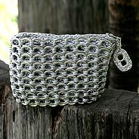 Soda pop top crocheted change purse!  Environmentally responsible and killer-cool!