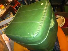 Vntg Mid Century Ottoman Footstool Green Leather in Rogers Park, Chicago, IL, USA ~ Krrb