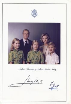 Miss Honoria Glossop:  Christmas Card 1978-79 of the Spanish Royal Family:  King Juan Carlos, Queen Sofia, Infantas  Elena and Cristina, Infante Felipe