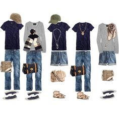 This would make a great winter packing list if the jeans were a bit more tailored, the t shirt was black, the shorts were swapped out for a black skirt/tights combo, and the shoes could be exchanged for black or gray boots. Also, the hat situation would change accordingly.