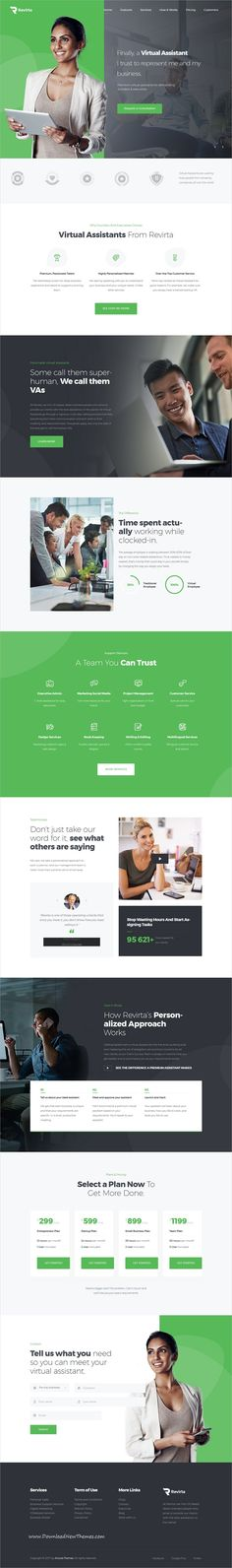 Revirta is clean and modern design 3in1 responsive #WordPress theme for #virtual assistants, #advisers or aids managers #website to live preview & download click on Visit