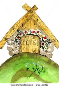Cartoon house. Hand drawn watercolor painting. - stock photo