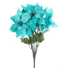 Turquoise Glitzy Poinsettia Bush