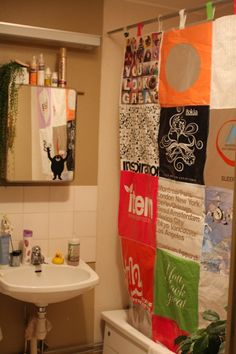patchwork of colors and designs brighten up this small bathroom