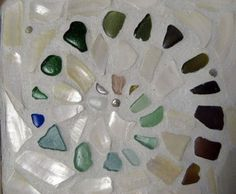 Sea Glass seaglass rainbow colors mosaic, shells, trivet, craft idea, gift ideas