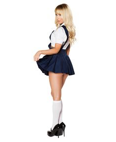 Naughty Private School Girl Costume includes short sleeve crop top with deep V neck and collar, neck piece with button detail, and high-waisted pleated skirt with suspenders. Private School Uniforms, Private School Girl, Sexy Costumes For Women, Sexy Halloween Costumes, Sexy Outfits, Girl Outfits, Pleaded Skirt, School Costume, School Uniform Fashion