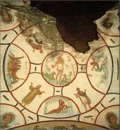 Beschilderd plafond in de Catacombe van SS. Pietro en Marsellino in Rome ~ 4e…