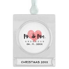 Stamped Heart Mr & Mrs Wedding Date Silver Plated Banner Ornament
