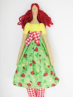 Cloth doll fabric doll in bright yellow green by HappyDollsByLesya