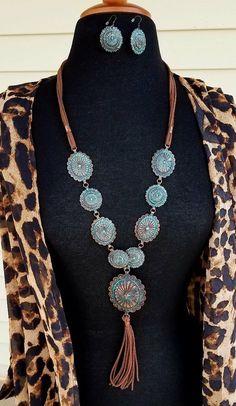 Cowgirl BLING Patina Copper Tone CONCHO NECKLACE set Southwestern Gypsy Western | Jewelry & Watches, Fashion Jewelry, Jewelry Sets | eBay!