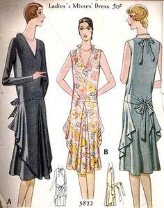 1920s Dress Pattern Mccall Pattern 5822