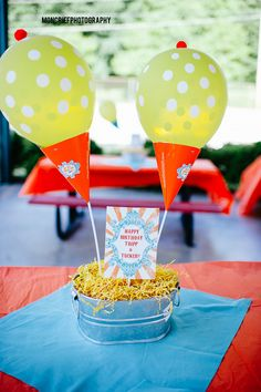 Balloons that look like ice cream cones when a party hat is attached to the bottom and a cherry is added on top. Centerpieces. Ice Cream Birthday Party . Joint birthday party for two brothers. Color Scheme: Yellow Blue Orange .
