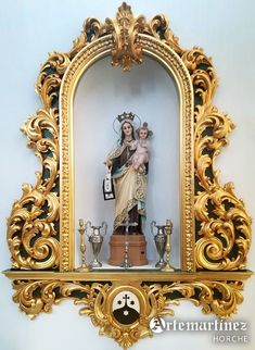 Altar Design, Church Design, Catholic Altar, Home Altar, Wood Carving Designs, Happy House, Kitsch, Mother Mary, Ceramic Painting