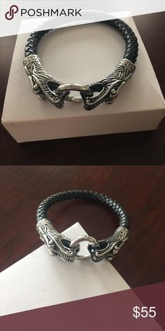 Men's black leather with double dragons bracelet Brand new double dragon black woven leather bracelet John Hardy no box John Hardy Accessories Jewelry