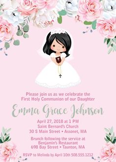 Adorable Girl First Communion Invitations featuring a variety of hair and skin tones. Easily change the background colors for a personal Holy Communion. First Communion Party, First Holy Communion, Printable Invitations, Invitation Cards, Printables, Photo Invitations, Shower Invitations, Recuerdos Primera Comunion Ideas, Envelopes