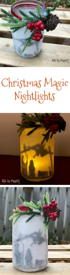 Here's another spin on the night lights! Instead of using the fairy silhouette, cut out a nativity scene or any other Christmas silhouette and you will end up with magic! Add some winter floral to the top and you have yourself the perfect (frugal) gift idea.
