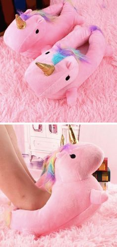 [Light Up Unicorn Slippers For Kids and Adults] Like little magical night lights for your feet. These adorable pink light up unicorn slippers were made with comfort and cuteness in mind. #unicorns #tripboulevard #slippers