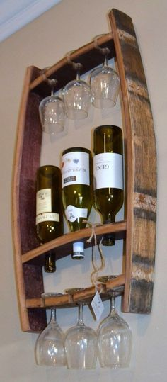 Wine Bottle and Glass Holder Fantastic Stuff That's Wooden #coolwoodwork