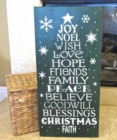 Holiday decor:  Christmas tree word sign holiday green large