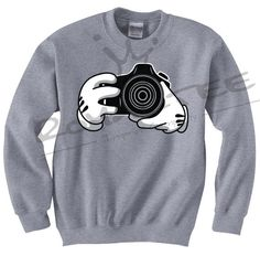 Mickey Hands CAMERA Crewneck Sweater Nikon Minnie Mouse Dope HUF obey BBC ymcmb Nikon Canon Slr