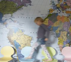 World Map Wallpaper is what I would love to do on our study wall once my daughter moves out of the room