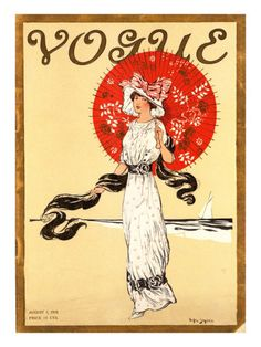 Vogue Cover - August 1910    Illustration of woman in white and black gown with red and gold oriental parasol walking on beach.