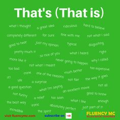 Phrases - That's (That is) - Make your own sentence! Practice!