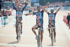 1996  Mapei sweeps Roubaix podium  Belgian Johan Museeuw crosses the line first at Paris-Roubaix in a choroegraphed finish after he and Mapei team-mates Gianluca Bortolami and Andrea Tafi escape with 86km to go and prove unstoppable. All three are aboard Colnago C40s as team sponsor.