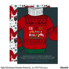 Ugly Christmas Sweater Party Invitation Ugly Xmas Sweater, Christmas Sweaters, Christmas Party Invitations, Christmas Fun, Christmas Cards, Kids Gifts, Gift Ideas, Party Ideas, Sweater Embroidery