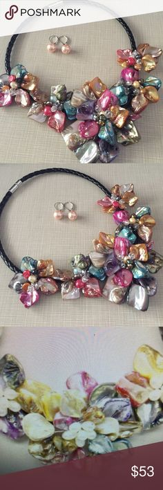 HOST PICK 6/14/17multi freshwater pearl sea shell Gorgeous multicolor freswater pearls sea shell flower leather necklace 18' long NWT crystal beads to enhance lustrous / genuine lever back pink pearl earrings approximately 9/10' Jewelry Necklaces