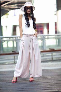 Hot Pink High Waist Wide Leg Chiffon Pants Skirt- NC141. $54.63, via Etsy.