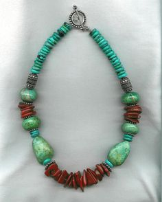 bold african jewelry | Large turquoise nuggets and rondelles, blue turquoise heishi, large ...