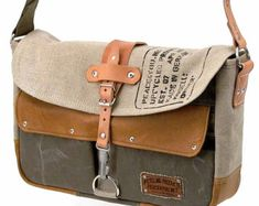 Navy Kitbag Messenger Bag // Upcycled and by peace4youBAGS on Etsy