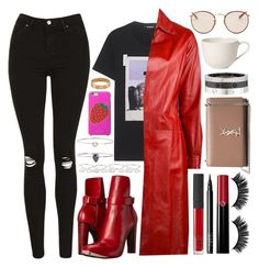 """it's raining, it's pouring."" by iriskatarina ❤ liked on Polyvore featuring Topshop, Dsquared2, Yves Saint Laurent, COSTUME NATIONAL, Maison Margiela, 19Fifth, Kate Spade, Cartier, NARS Cosmetics and Armani Beauty"