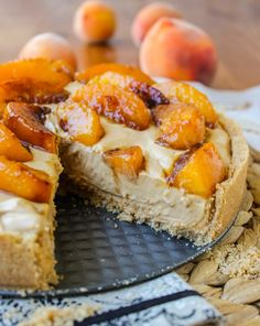 No Bake Dulce de Leche Cheesecake with Caramelized Peaches // from The Food Charlatan
