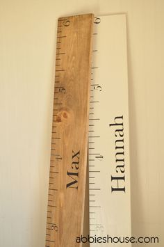 DIY Wooden Ruler Growth Chart by AbbiesHouse: Here is the link for the tutorial using purchased decals. http://www.abbieshouse.com/ #DIY #Ruler #Growth_Chart
